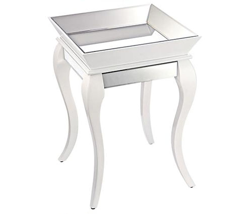 gloss white mirrored side table