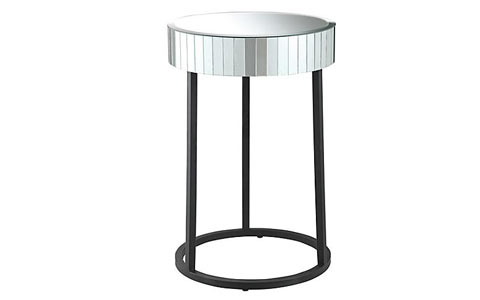 Kristal round mirrored accent table