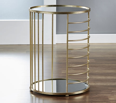 linear goldtone mirrored side table