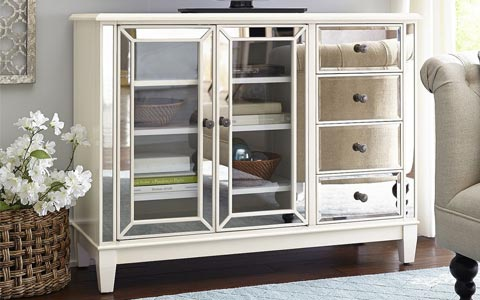 mirrored antique white tv stand