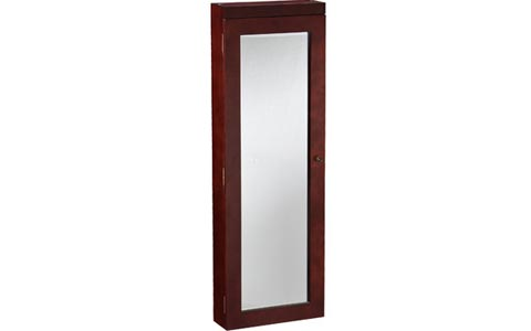 Tawny Lighted Wall Mounted Jewelry Armoire